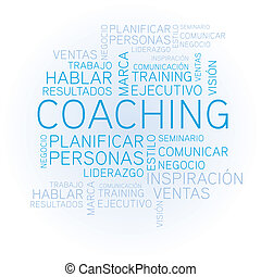 Coaching word cloud concept spanish