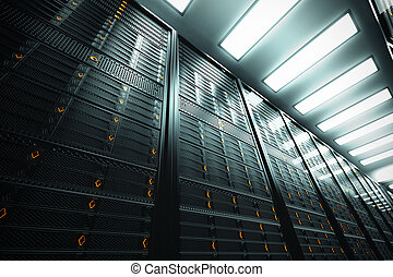 Server room. - Image presents a bottom view of a room...
