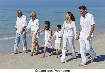 Grandparents, Mother, Father Children Family Walking Beach -...