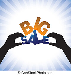 Concept vector graphic- person hand holding words big sale