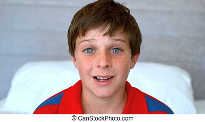 Blue eyed boy get surprised in slow motion at 500 frames per...