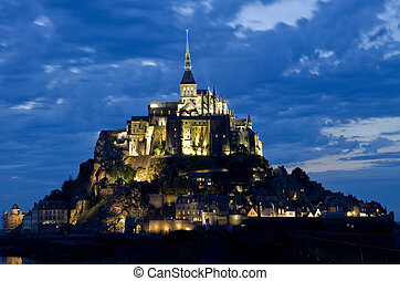 mount saint michel at night, normandy, france