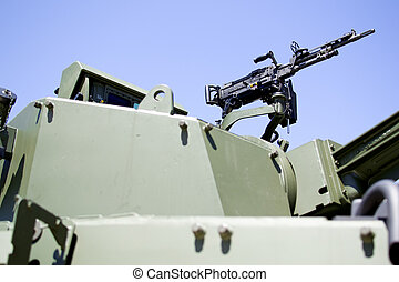 War vehicle - A detail of a machine gun of a armoured...