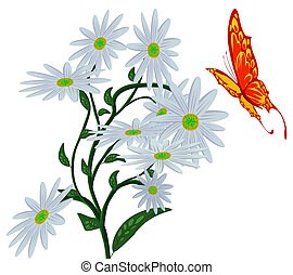 Abstract butterfly, and flower - Abstract butterfly, and...