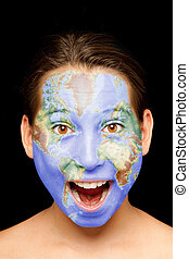 girl with world map on her face