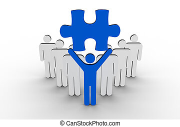 Leader holding blue jigsaw piece next to line of human...