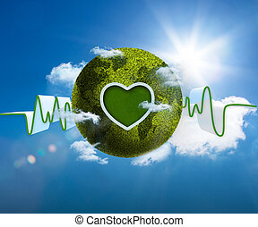 Green and white waveform with green earth and heart shape on...