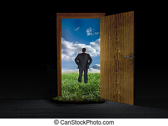 Businessman escaping to the countryside