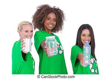 Three smiling environmental showing materials