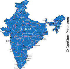 India map - Highly detailed vector map of India with...