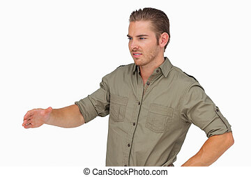 Man holding arm out for handshake on white background