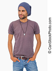Handsome man wearing beanie hat on white background