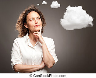 woman thinking with a cloud over her head