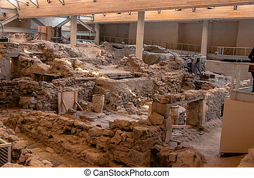 Akrotiri,excavation site of a Minoan Bronze Age settlement...