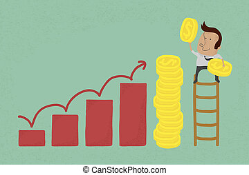 Success metaphor depicted with coins , eps10 vector format
