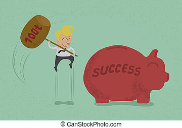 smash piggy bank to success