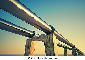 Pipeline sunset - Bottom shot of a pipeline at sunset...