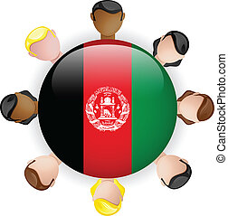 Afghanistan Flag Button Teamwork People Group