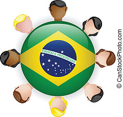 Brazil Flag Button Teamwork People Group - Vector
