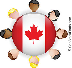 Canada Flag Button Teamwork People Group