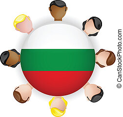 Bulgaria Flag Button Teamwork People Group