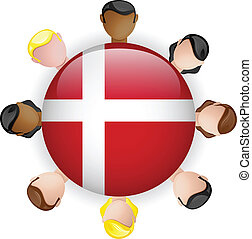 Denmark Flag Button Teamwork People Group