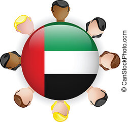 United Arab Emirates Flag Button Teamwork People Group