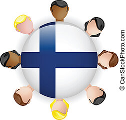Finland Flag Button Teamwork People Group