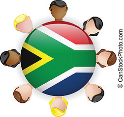 South Africa Flag Button Teamwork People Group - Vector