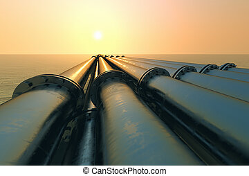 Pipeline sunset - Tubes running in the direction of the...