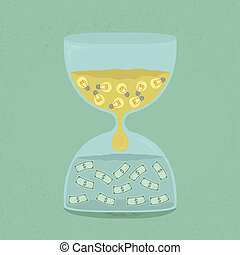 Idea transform to money through the hourglass , eps10 vector...