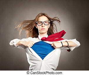 woman like a superhero - woman opening her shirt like a...