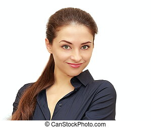 Smiling business woman looking isolated on white background