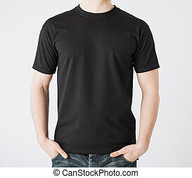 man in blank t-shirt - close up of man in blank t-shirt