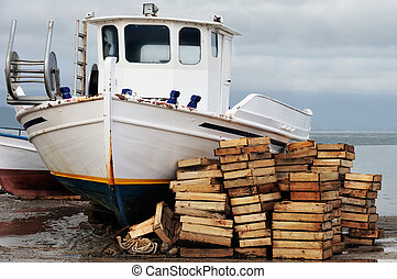 Laid out fishing boat - Winter picture of a laid out fishing...