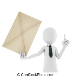 3d man holding an envelope isolated on white background
