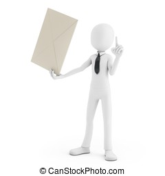 3d man holding an envelope