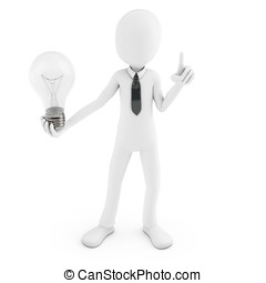 3d man holding a light bulb while thinking