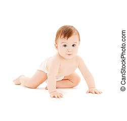 crawling curious baby - bright closeup picture of crawling...