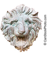 Closeup of antique lion spitting water - Closeup of antique...