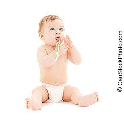 curioso, bebé, cepillado, dientes