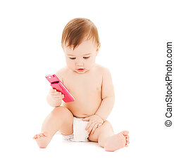 happy child with mobile phone - curious happy child playing...