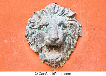 Closeup of antique lion spitting water