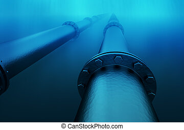 Underwater pipeline. - Pipeline in the blue waters of the...