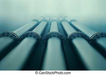 Underwater pipeline. - Pipelines disappear in the depths of...