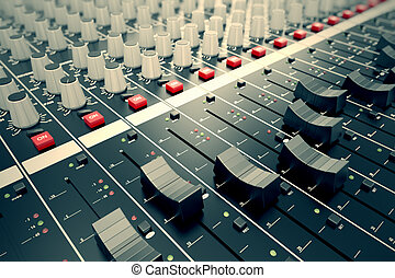 Audio Console. - Side closeup on a sliders of a mixing...
