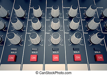 Audio Console. - Top view od adjusters and red buttons of a...