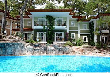 Swimming pool near luxury villas, Marmaris, Turkey