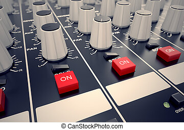 Audio Console. - Closeup on adjusters and red buttons of a...