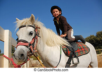 little girl and shetland - happy little girl and her friend...